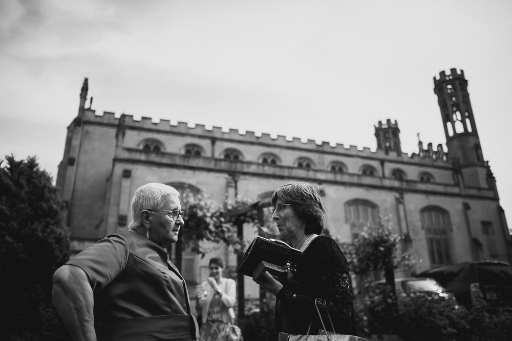 candid black and white photo of wedding reception in central bristol