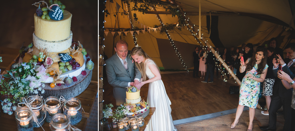 cheese tower as wedding cake in a tipi in sussex uk