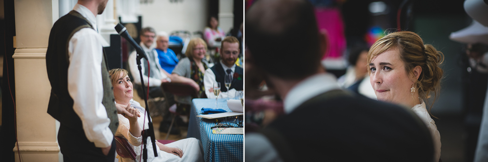 emotional speech and reaction from bride at wedding in bristol