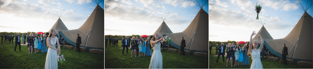 confetti toss at wedding with tipi in backgroud