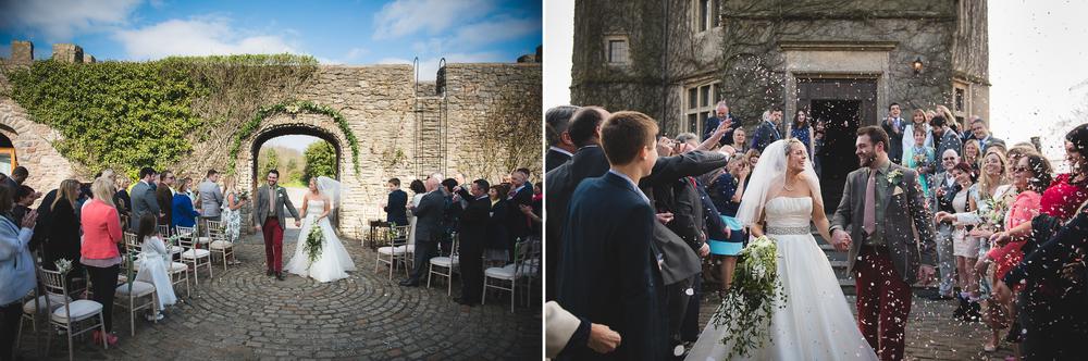 outdoor wedding ceremony at walton castle clevedon
