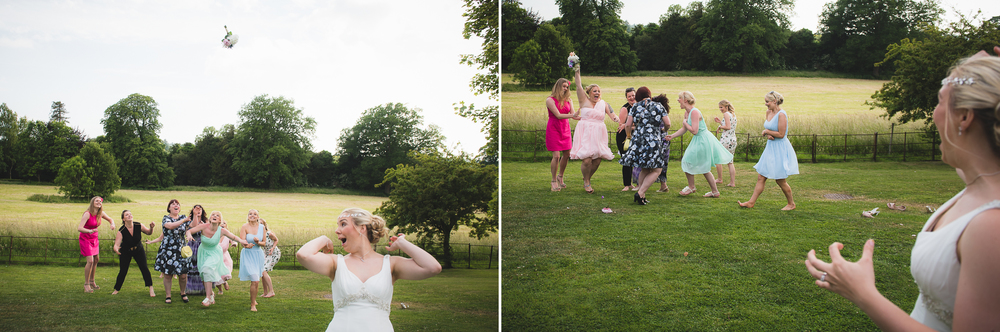 funny bouquet toss at wedding