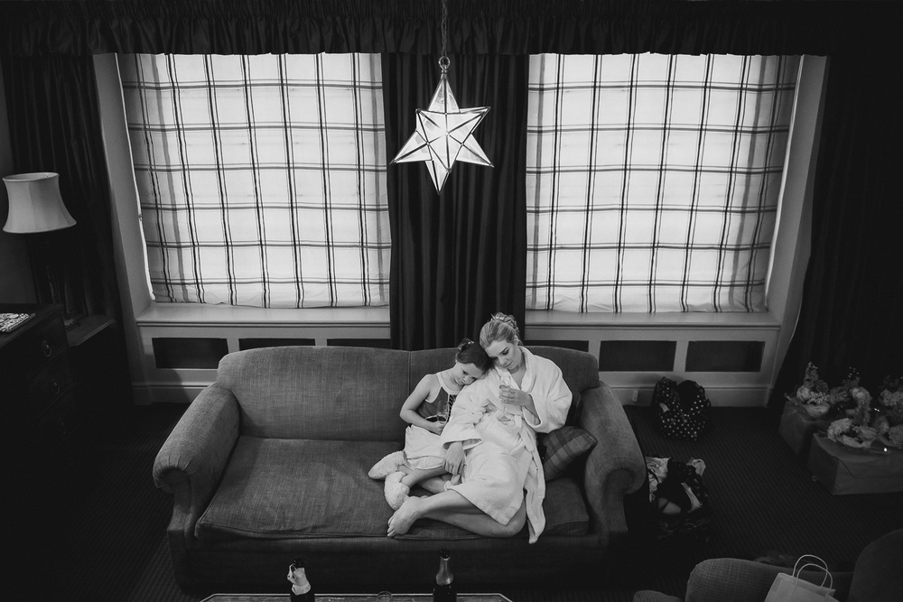 black and white documentary picture of bride to be with neice