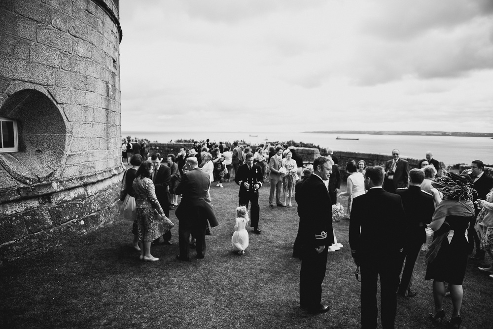 outdoor reception at pendennis castle in cornwall