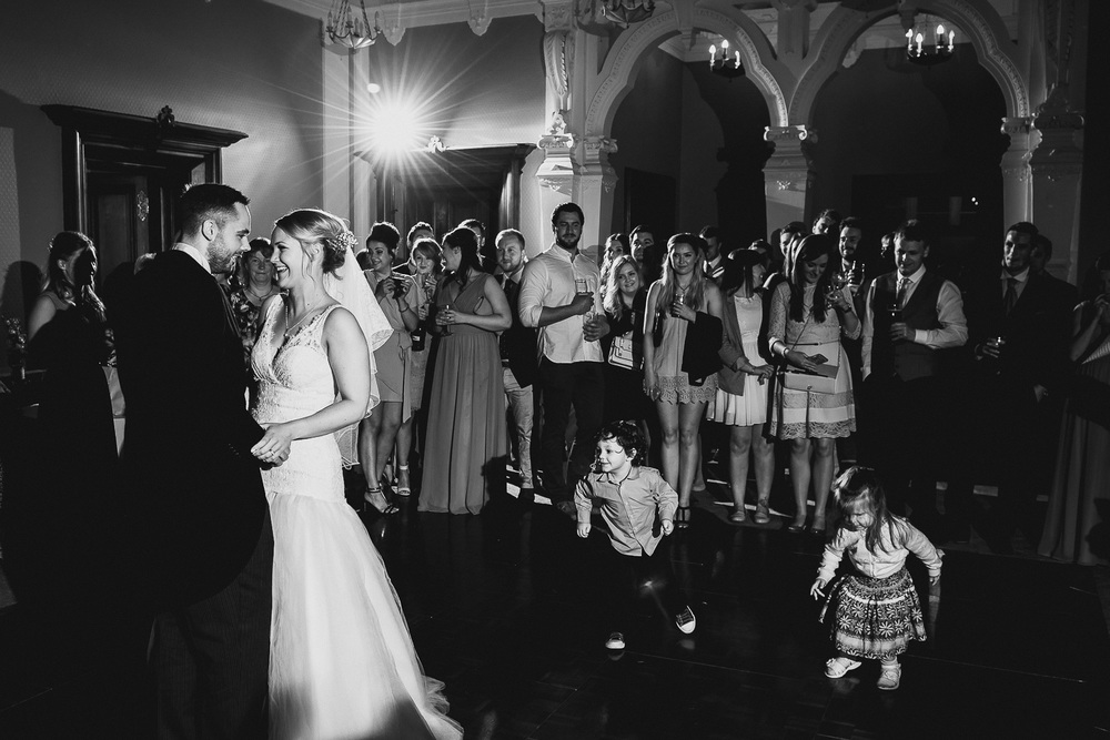 natural fun first dance at wedding in clevedon hall
