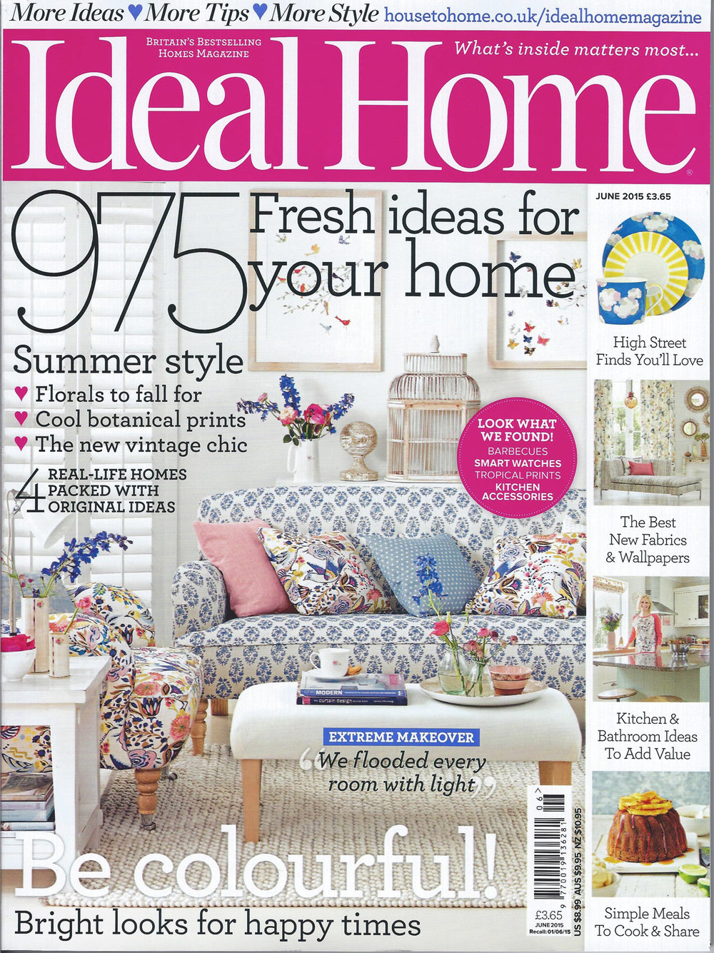 Ideal Home, June 2015 cover, feat Eloise Hall original collages
