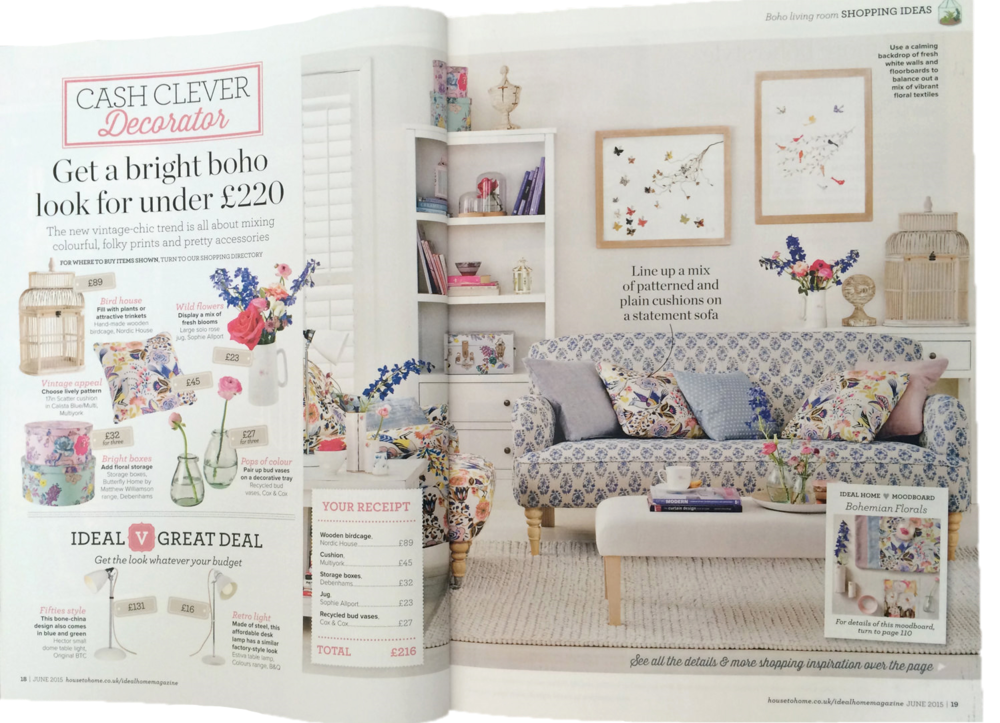 Ideal Home June 2015, inside pages feat Eloise Hall original collages