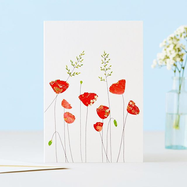 Poppies and Grass card. Poppies represent rest, beauty and success. #greetingcards #poppies #poppy #botanical #nature #wildflowers #dsfloral #thatsdarling #pursuepretty #floral #chiyogami #natureinspired #creativewomen #becreative #stationery #stationeryaddict #papergoods