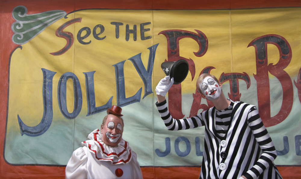 "The Jolly Joker and the Gentle Giant   36"" x 60""    Oil on Linen   SOLD"