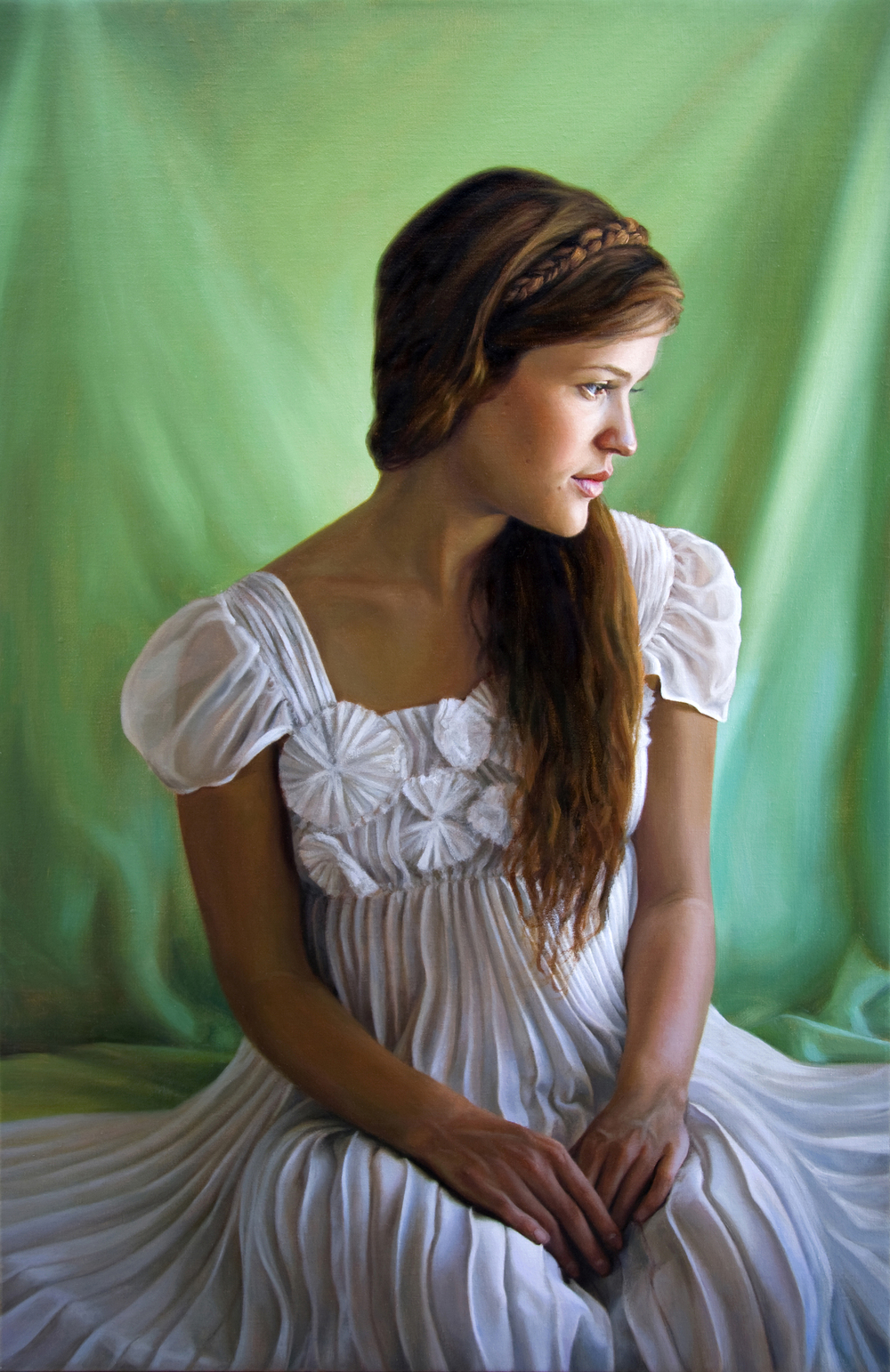 "The Pleated Dress   36"" x 24""    Oil on Linen   SOLD"