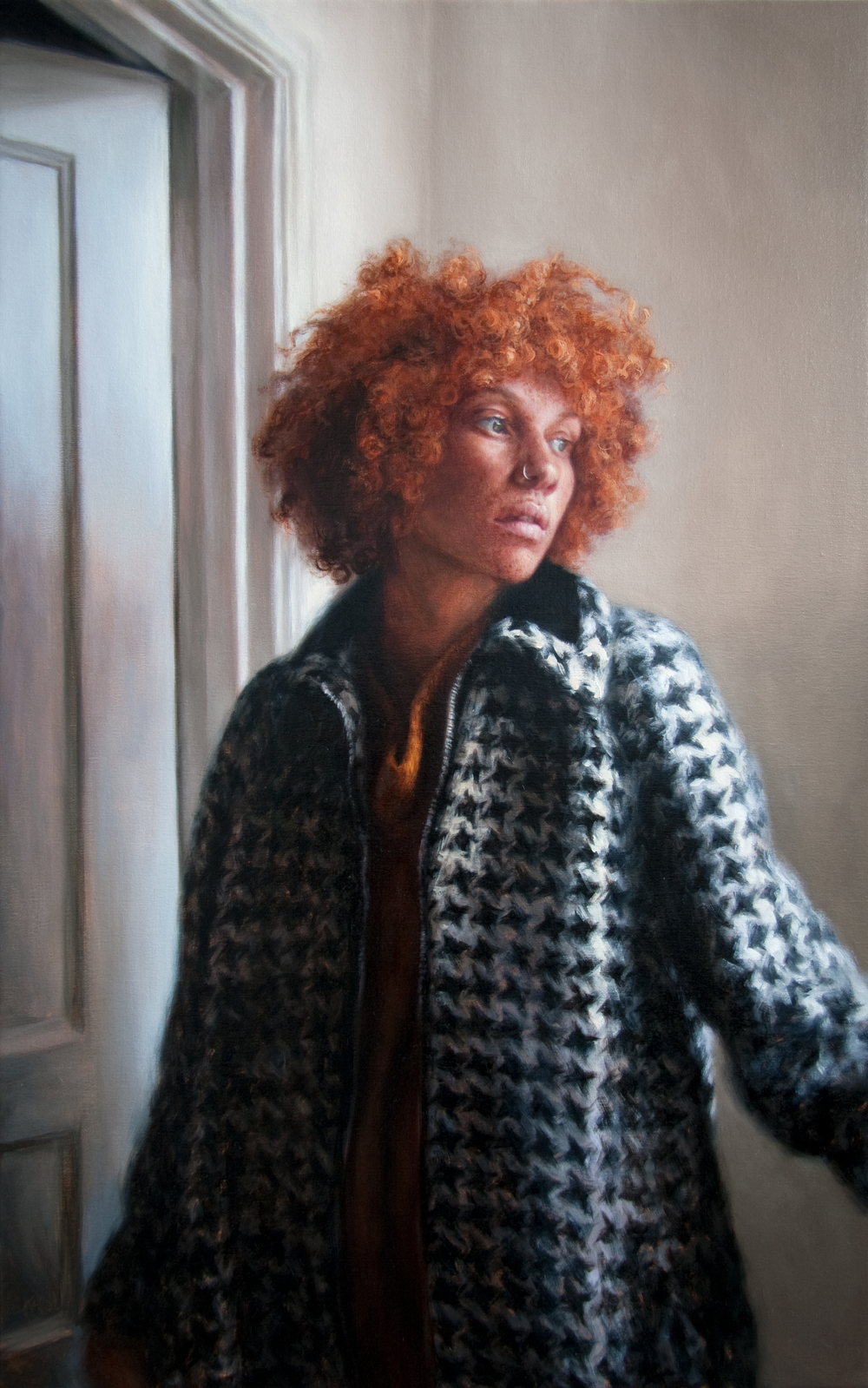 "Tarren in Houndstooth   38"" x 24""    Oil on Linen    SOLD"