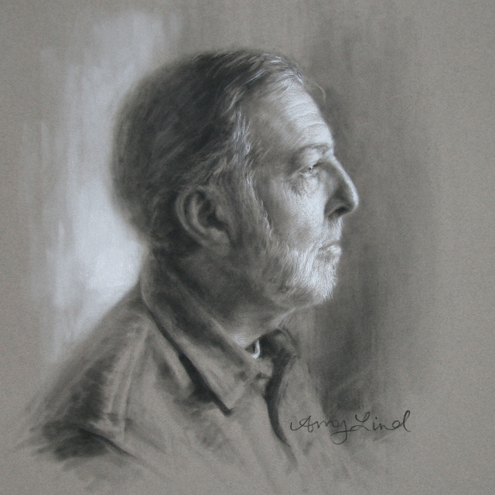 "The Artist's Father   14.5"" x 14.5""    Charcoal on Paper   SOLD"