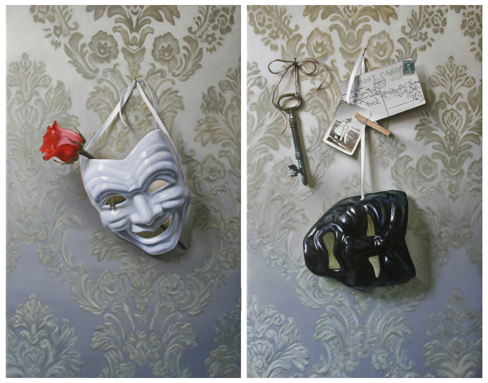 "Dyptich -  LEFT:  Sitting Pretty    22"" x 14""   Oil on Linen  RIGHT:  Hanging by a Thread   22"" x 14""   Oil on Linen  SOLD"