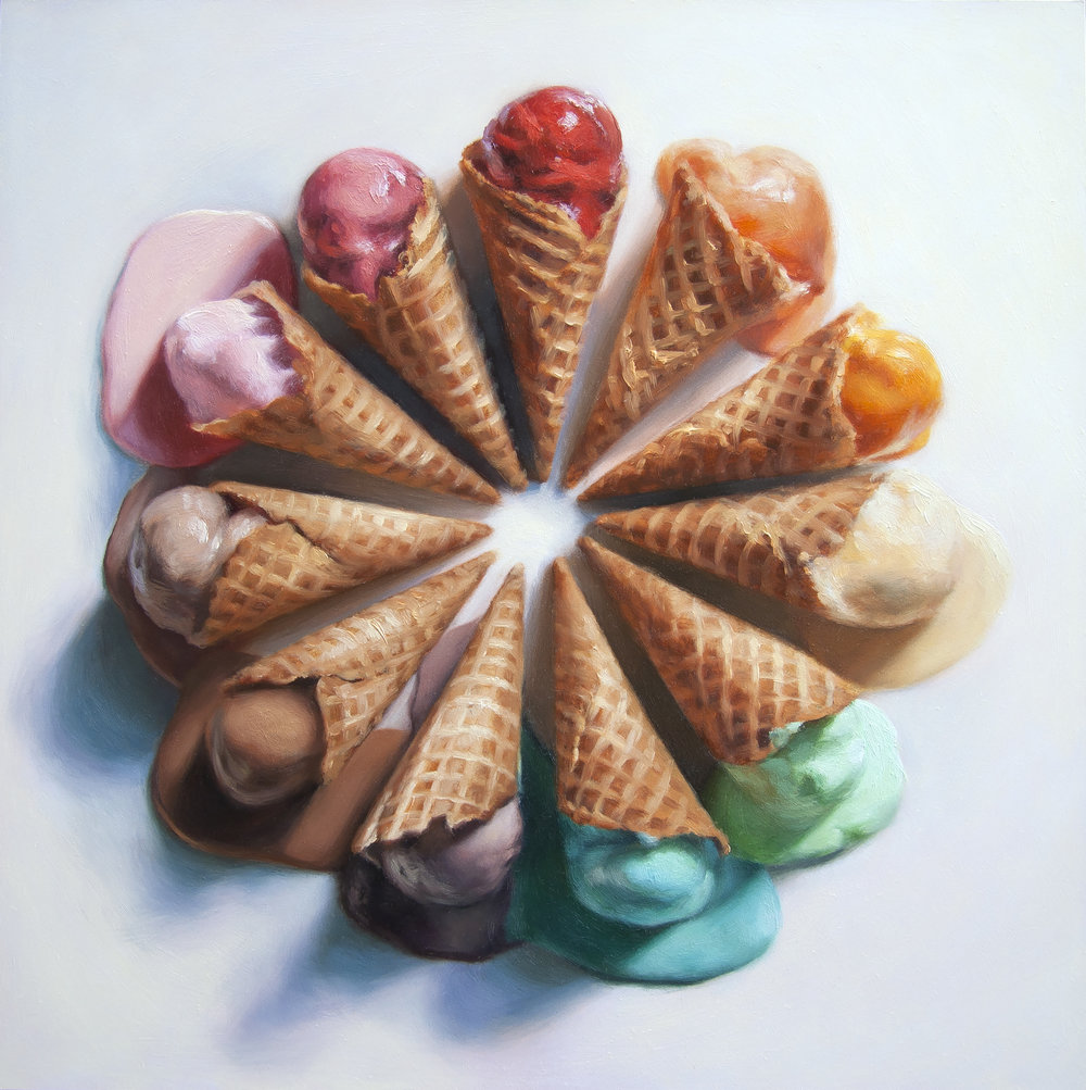 "We All Scream For Ice Cream!   12"" x 12""  Oil on Panel  SOLD"