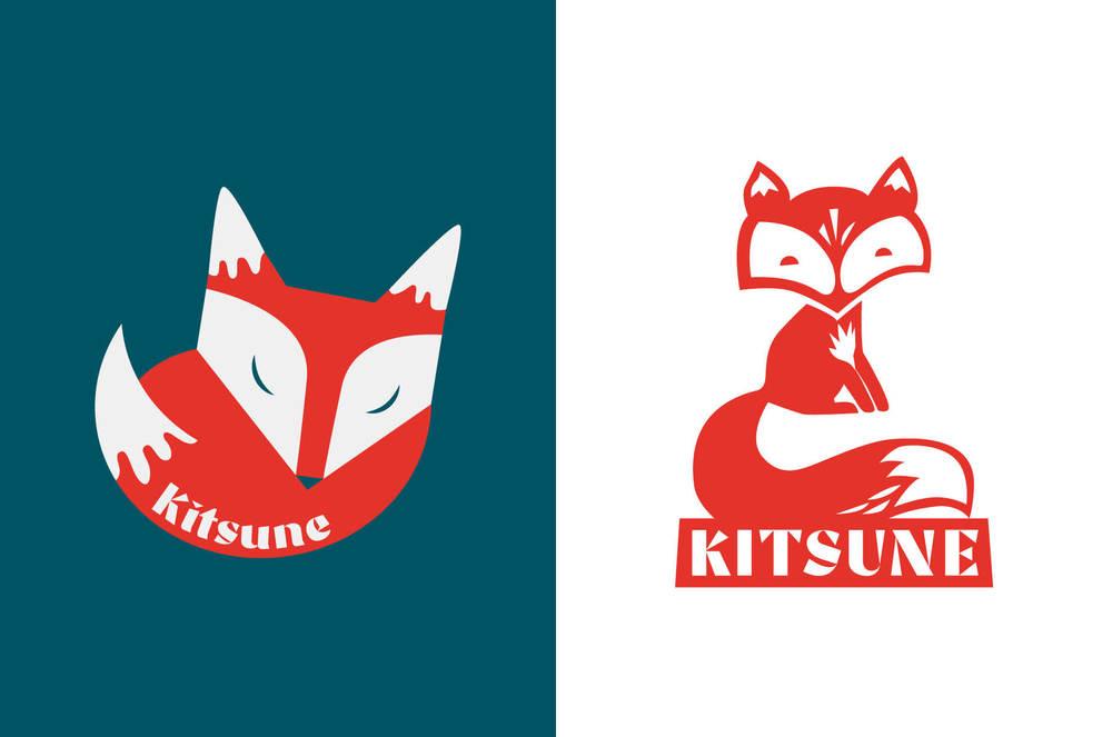 Logos 1 and 2 (sleep well, dear fox babies!)