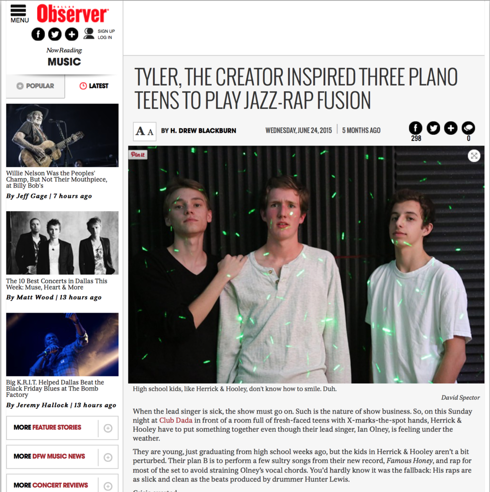 Featured photography of local band in the Dallas Observer