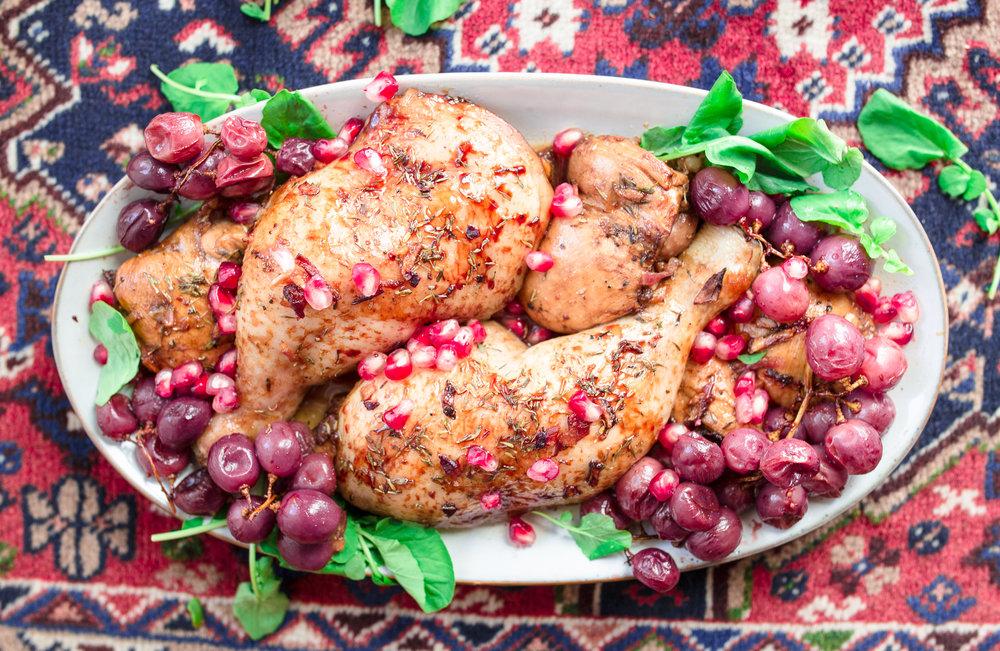 iran fesenjan chicken aus dem ofen in granatapfelmelasse
