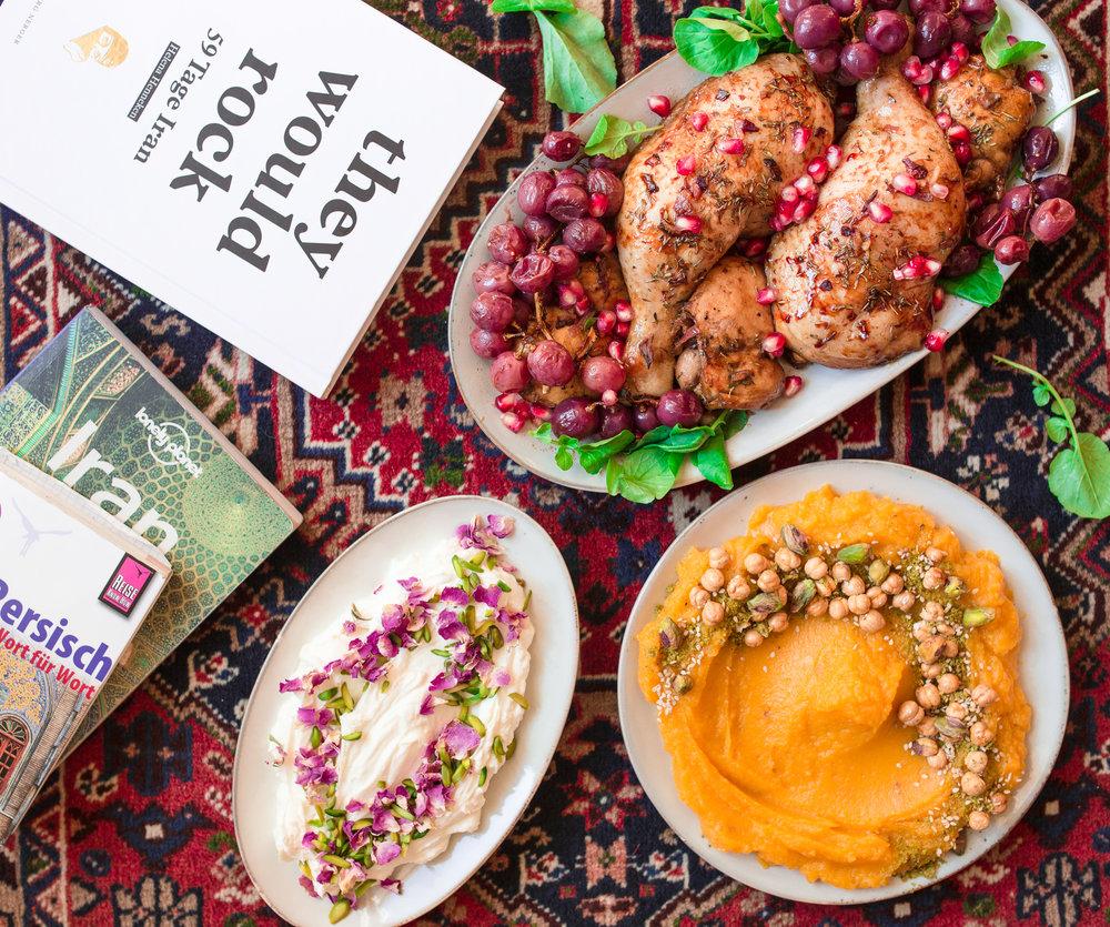 iran reise persisches essen labneh und chicken und kürbis