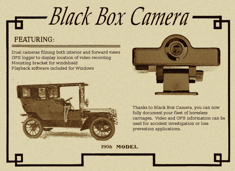 "Spytech's first dashcam, the ""Black Box Camera"""