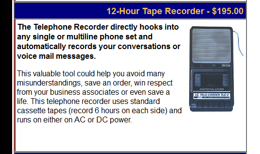 The TLC - 1 tape recorder as it appeared on our website circa 1999 courtesy of the Wayback Machine on the Internet Archive (https://archive.org/web/)