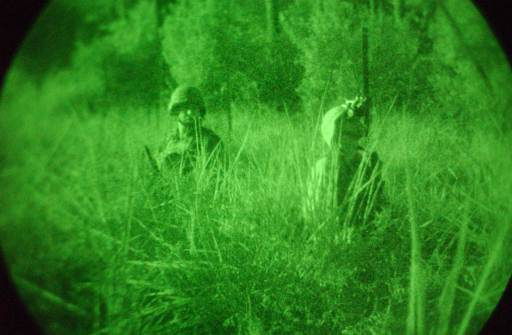 1st Generation scope amplifies ambient light to generate this familiar green image