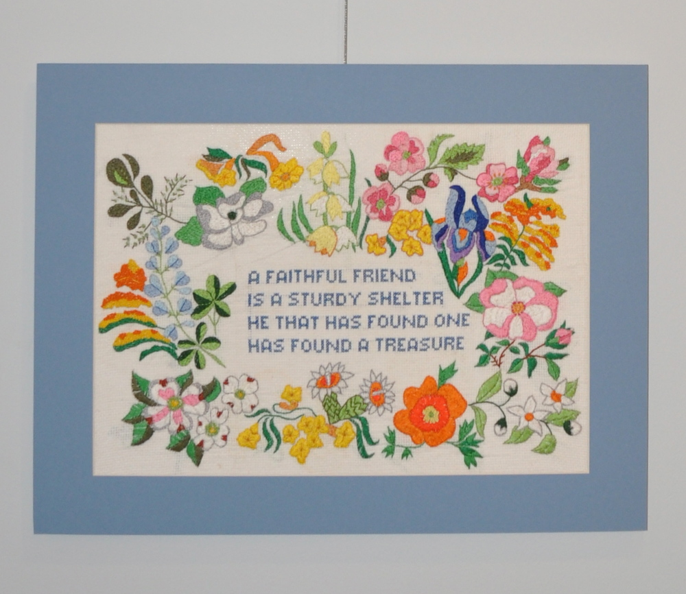 Friends Embroidery needlepoint fabric; embroidery floss  Christine Regina