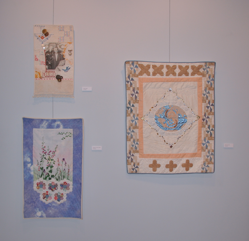 Delany Sisters (top left)   Grandma's Flower Garden (bottom left)   TRI-S Quilt, 1987 (right)    Twila Beahm