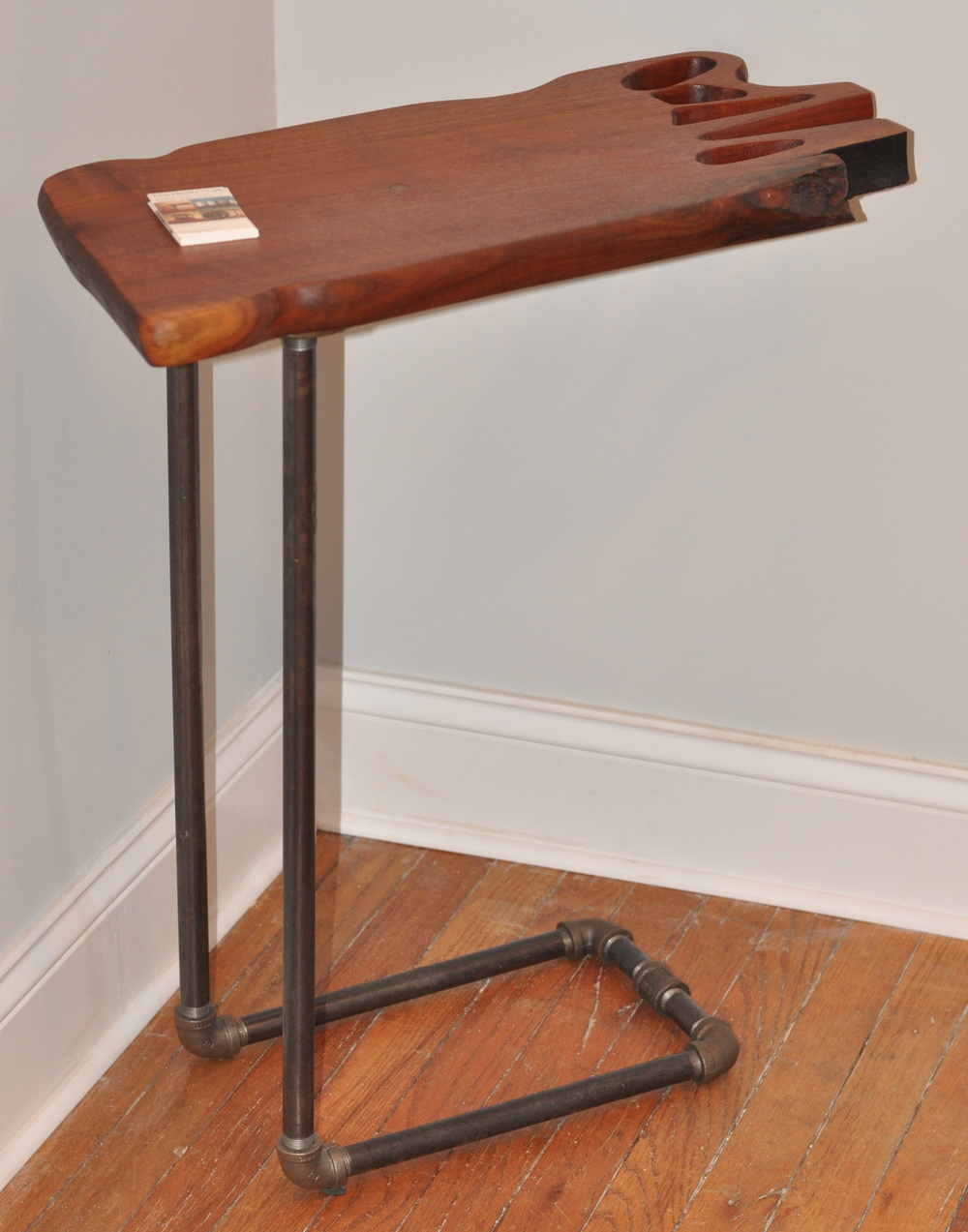 Salon Side Table   Iron pipe, Walnut, 2012    Stephen Scharbrough   Class of 2004    The IRON Slab