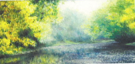 "Nathan Seal's    untitled oil on board painting depicts a scene of the White River in Chesterfield. Seals works is part of the show ""Requiem for the Wapahani"" at Park Place Arts."