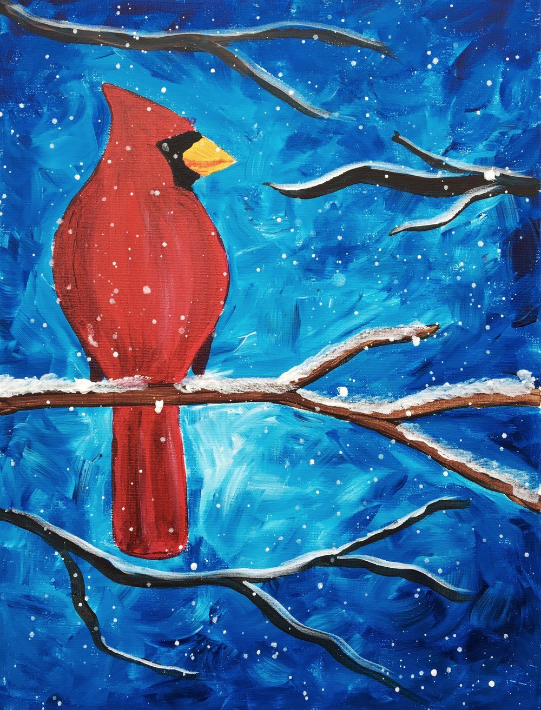 January's subject: Cardinal in a Winter Scene