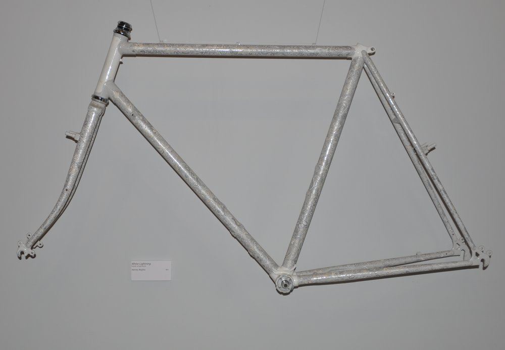 """White Lightening""   enamel, vintage bicycle  - Harvey Bayliss"