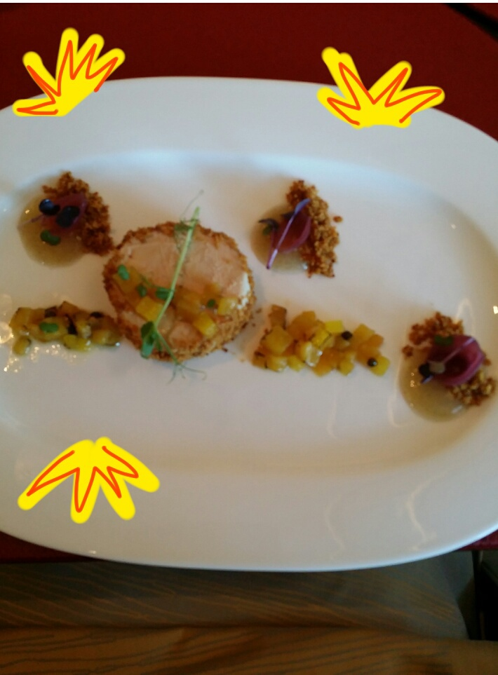 Foie Gras crusted with bread crumbs and mango salsa