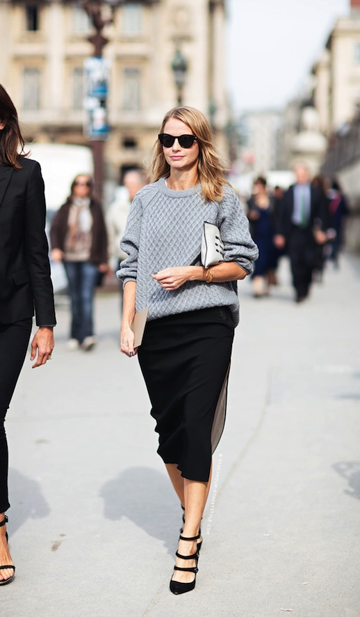 Summer or fall, a chunky knit with skirt and sandals = edgy chic.