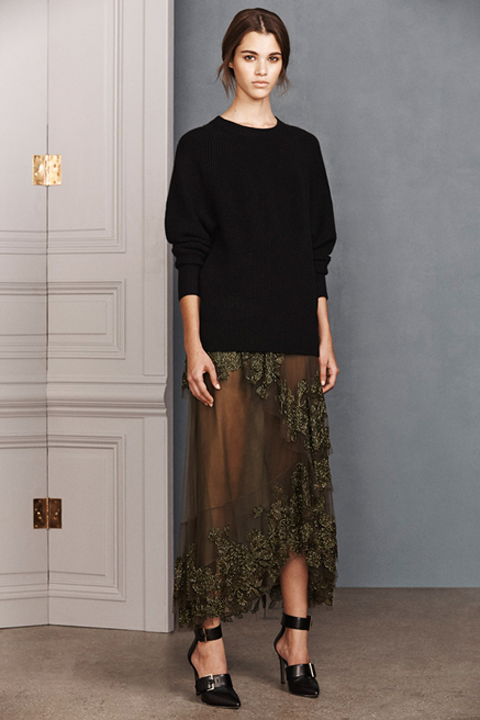 A superfine knit with sheer skirt is evening elegant.