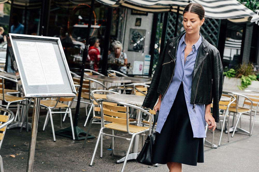 The impossibly cool leather jacket adds edge to everyday attire.