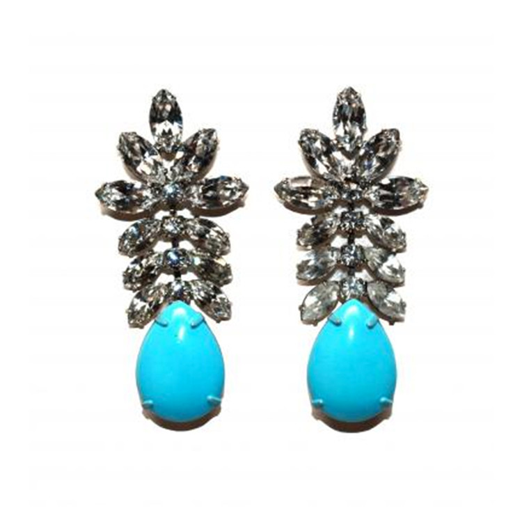 Madame Dupont Pastel, Turquoise, and Crystal Earrings - $390.