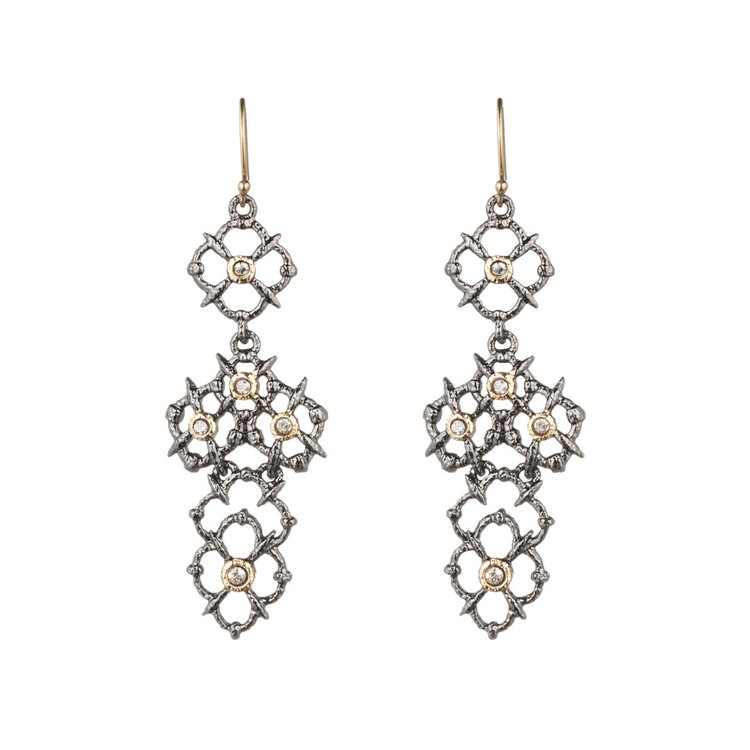 Alexis Bittar - Muse D'or Crystal Studded Lace Chandelier Earring. $140.