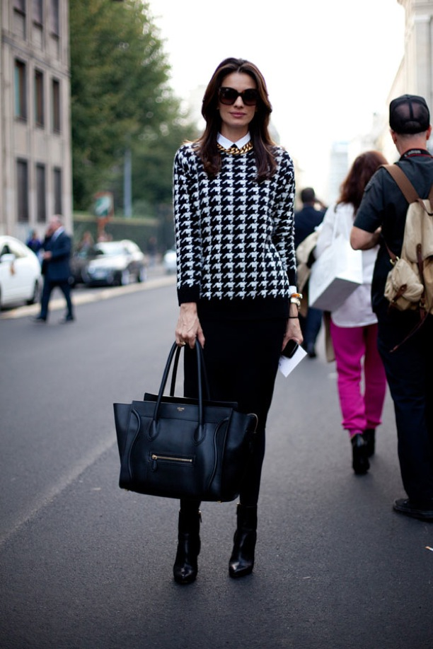 MILAN-FASHION-WEEK-STREET-STYLE-SS-2013-SPRING-SUMMER-2013-GRAPHIC-PRINT-SWEATER-Pencil-Skirt-Street-Style-HOUNDSTOOTH-MIDI-PENCIL-SKIRT-ANKLE-BOOTS-CELINE-LUGGAGE-TOTE-BAG-GOLD-CHAIN-NECKLACE-OVERSIZED-SUNGLASSES-VIA-HARPERS-BAZAAR.jpg