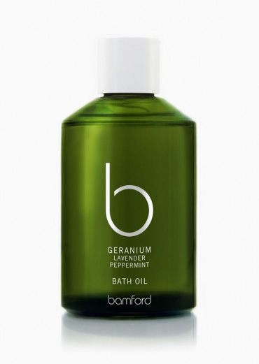 Bamford Botanic's Geranium Lavender Peppermint bath oil will ensure relaxation after long days.
