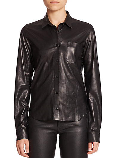 Helmut Lang's leather collar will catch every eye in the room, or the street.