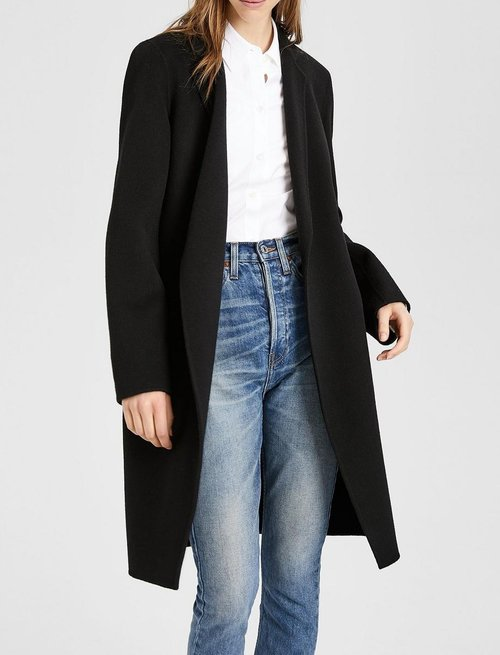 9b3702cf3d5 Theory Double Faced Essential Coat — Black Caviar