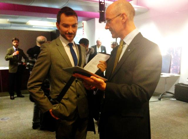 Finance Minister John Swinney can't resist showing off the G-Hold