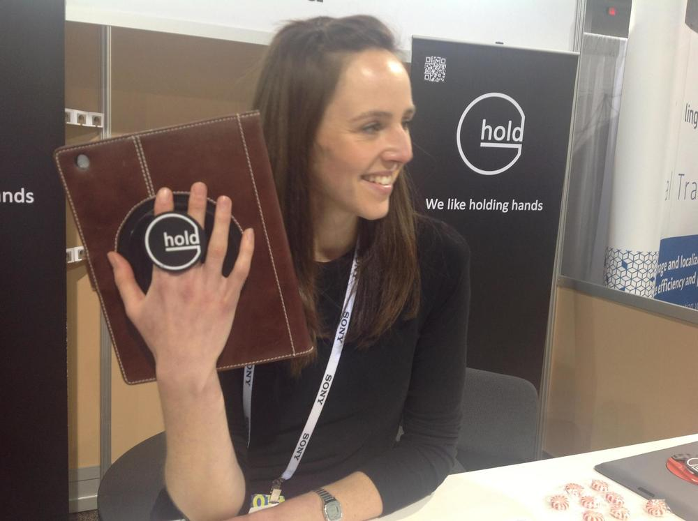 Louise shows off the G-Hold Bohemia Leather iPad case at CES 2014