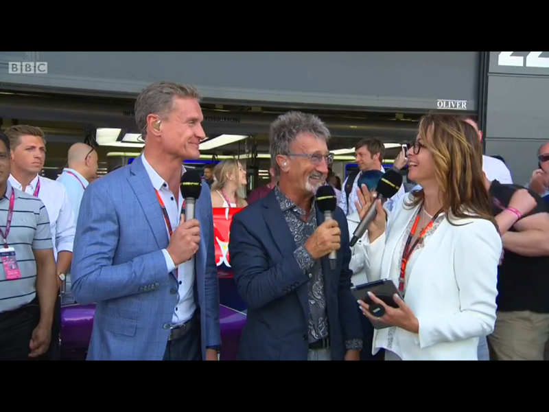 Suzi Perry with G-Hold at British Grand Prix