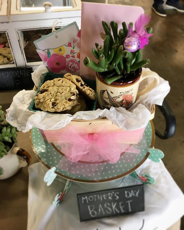 There's only 6 Mother's Day Baskets left! Get your Momma a half dozen cookies, an adorable succulent planted in a vintage mug, a cute journal and customized card - all in a wooden berry basket! Order by Wednesday May 4, pick-up Friday or Saturday! TheCookieCult.com #thecookiecult