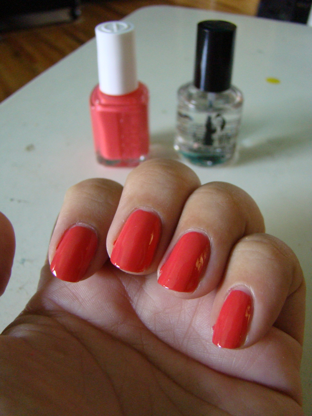Step 1:   Paint your nails. Any color will do as long as it's light enough to show the print.  If you use cream or white, the text will really look like newsprint!