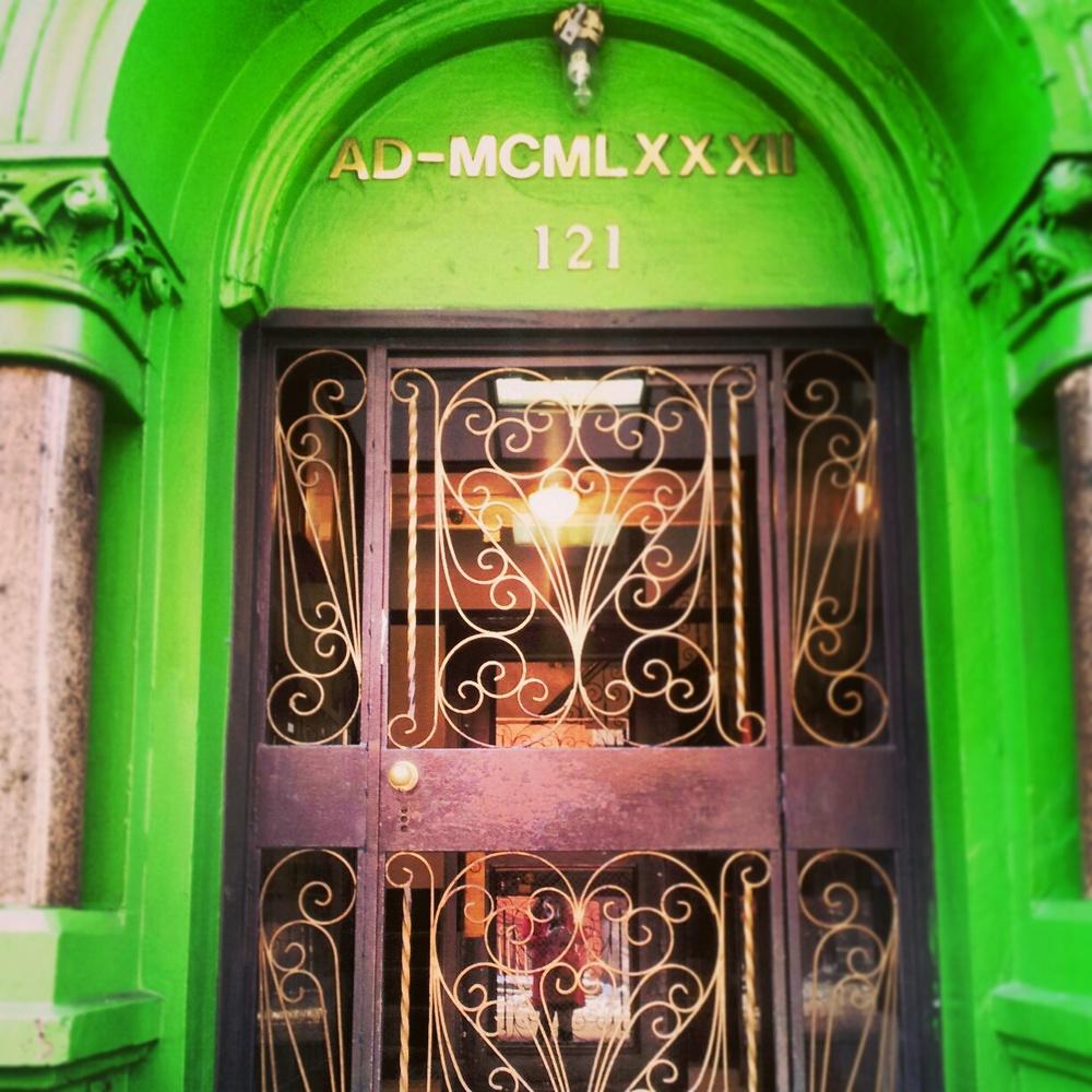 An apartment gate in Brooklyn.