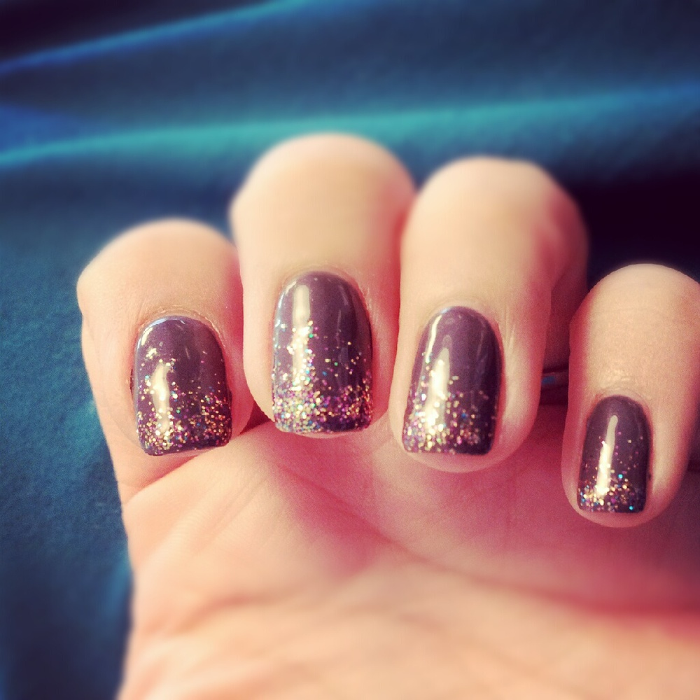 These were my party nails.  They were a dark grey with tiny rainbow sparkles, because why not?!