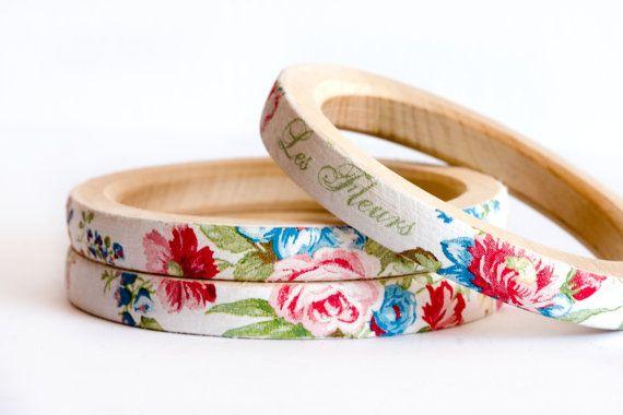 Floral wooden bangles @ Etsy.com
