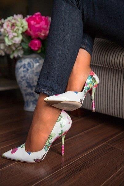 Patent leather floral pumps on Pinterest.com